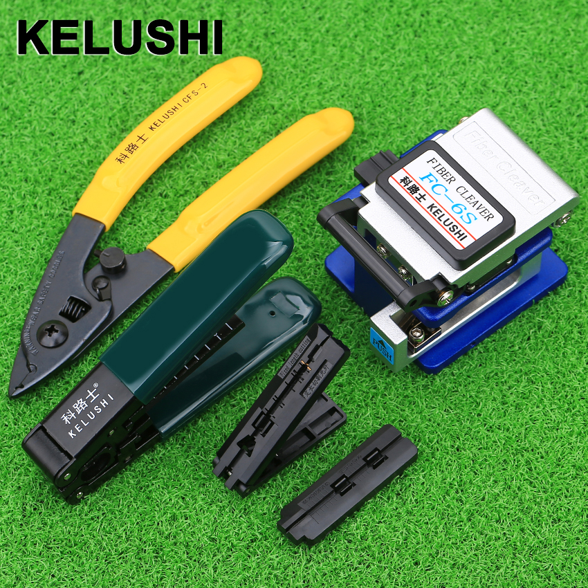 KELUSHI 5 In1 Fiber Optic Tool Sets FC-6S Fiber Cleaver Double Port For Wmiller Stripping Pliers Wire Stripper Use Ftth Fttx