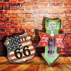 Image 2 - Светодиодный настенный светильник IARY для ресторана, бара, украшения для кафе, Большой Настенный светильник, ретро, железный Route 66, Cola, настенный светильник с дистанционным управлением для мороженого