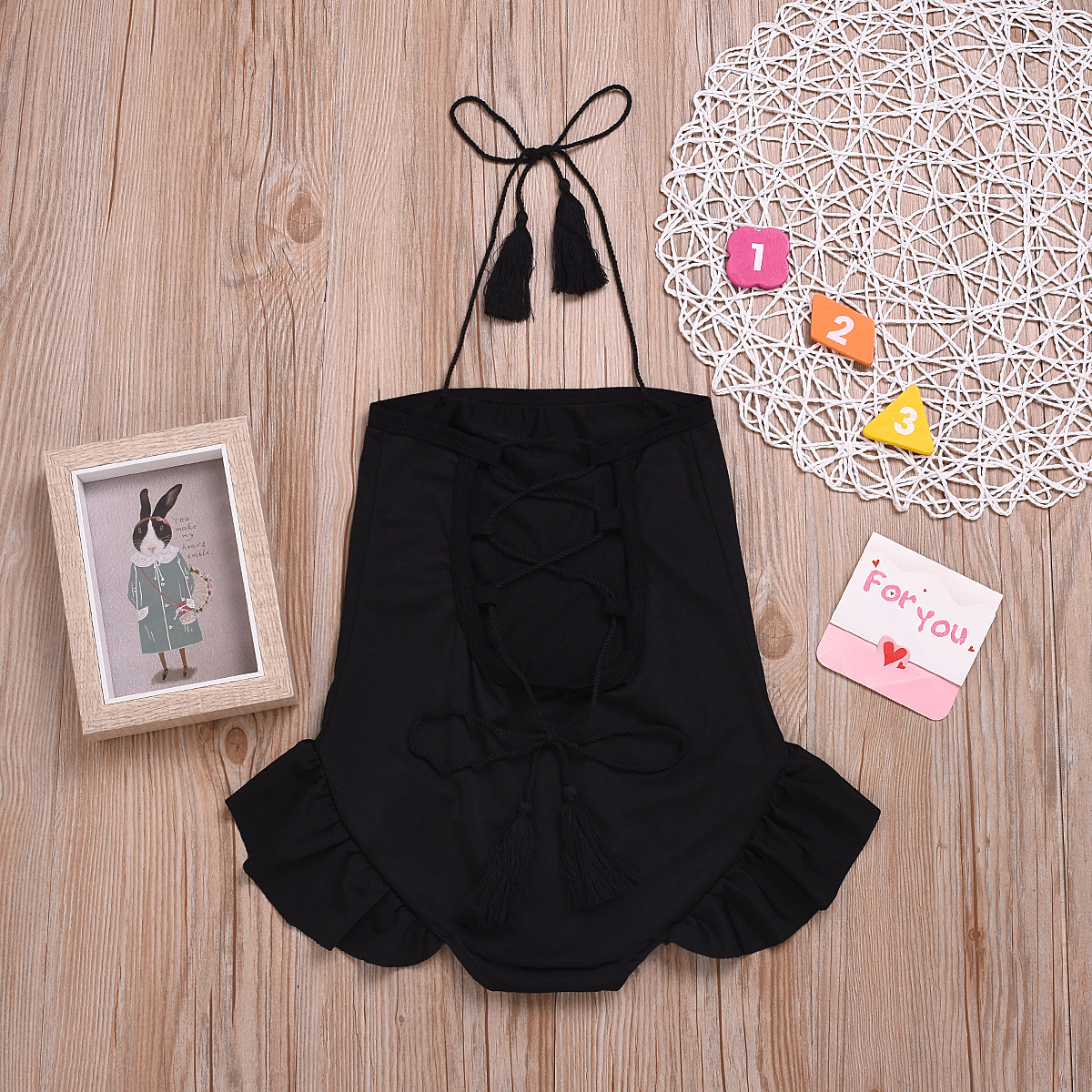 Solid Color Lace-up GIRL'S Swimsuit Backless Black And White With Pattern Hot Selling Children Dress