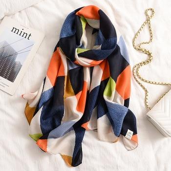 2021 new design brand spring women scarf fashion plaid print cotton hijabs scarves for ladies shawls and wraps pashmina stoles