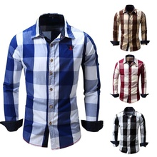 ZOGAA Brand New Plaid Shirt 2018 Mens Long Sleeve Autumn Winter Slim Clothes Casual Cotton Shirts Plus Size Men Tops Tees