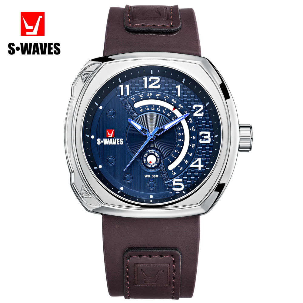 SWAVES Leather Watches Mens 2019 Water Resistant Silver Blue Watch Men Complete Calendar Sport Relojes Hombre Clock Dropshipping