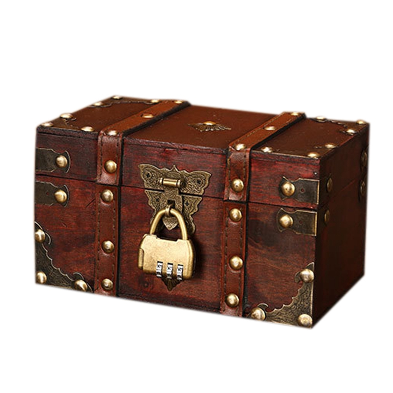 Retro Treasure Chest with Lock Vintage Wooden Storage Box Antique Style Jewelry Organizer for Wardrobe Jewelry Box Trinket Box