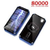 Batería Solar portátil para teléfono móvil, panel solar de 80.000 mA, cargador de batería externa para iPhone, Samsung y Huawei