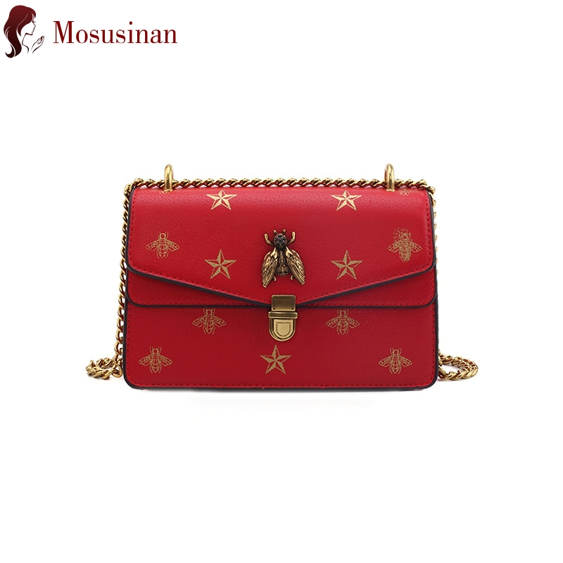 Luxury Chain Crossbody Bags For Women 2019 High Quality Leather Shoulder Bag Fashion Bee Small Square Bag Ladies Messenger Bag