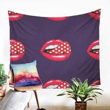 Fabric Tapestry Beauteous Carpet On The Wall Lipstick Printing Design Wall Hang Modern Home Decoration Dorm Dector
