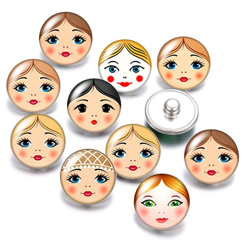 x 1 snap Russian doll on support silver metal 20 mm glass round jewelry
