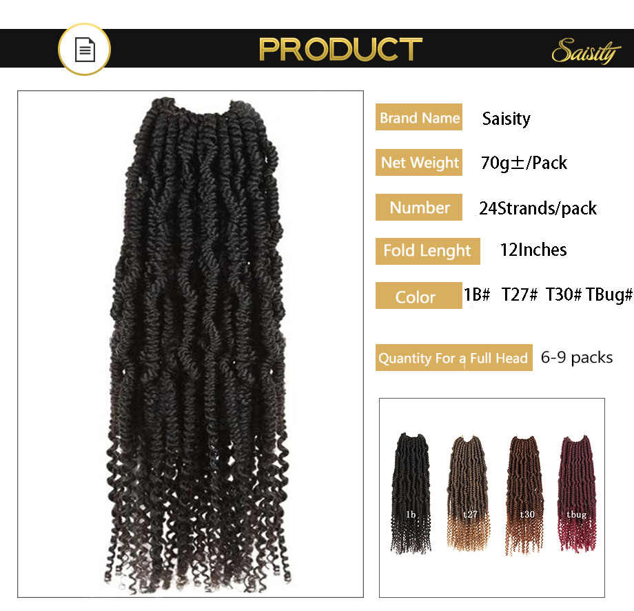 Saisity Passion primavera gists Ombre trenzado sintético extensiones de cabello de ganchillo fibra Pre looped esponjoso gists pelo a granel