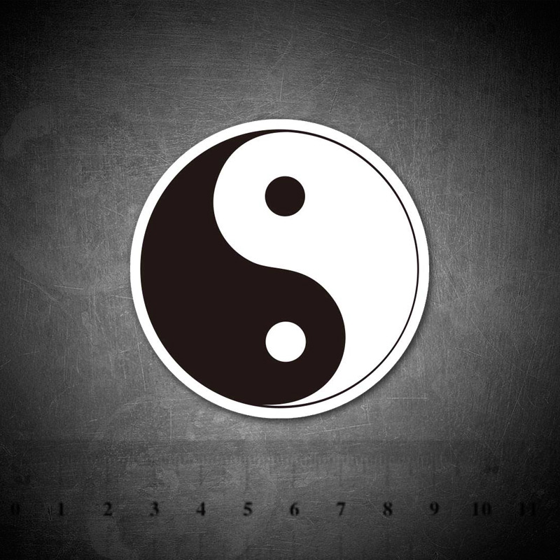 Tai Chi Logo Black And White Sticker For Luggage Skateboard Phone Laptop Bicycle Wall Guitar Diary Car Stickers