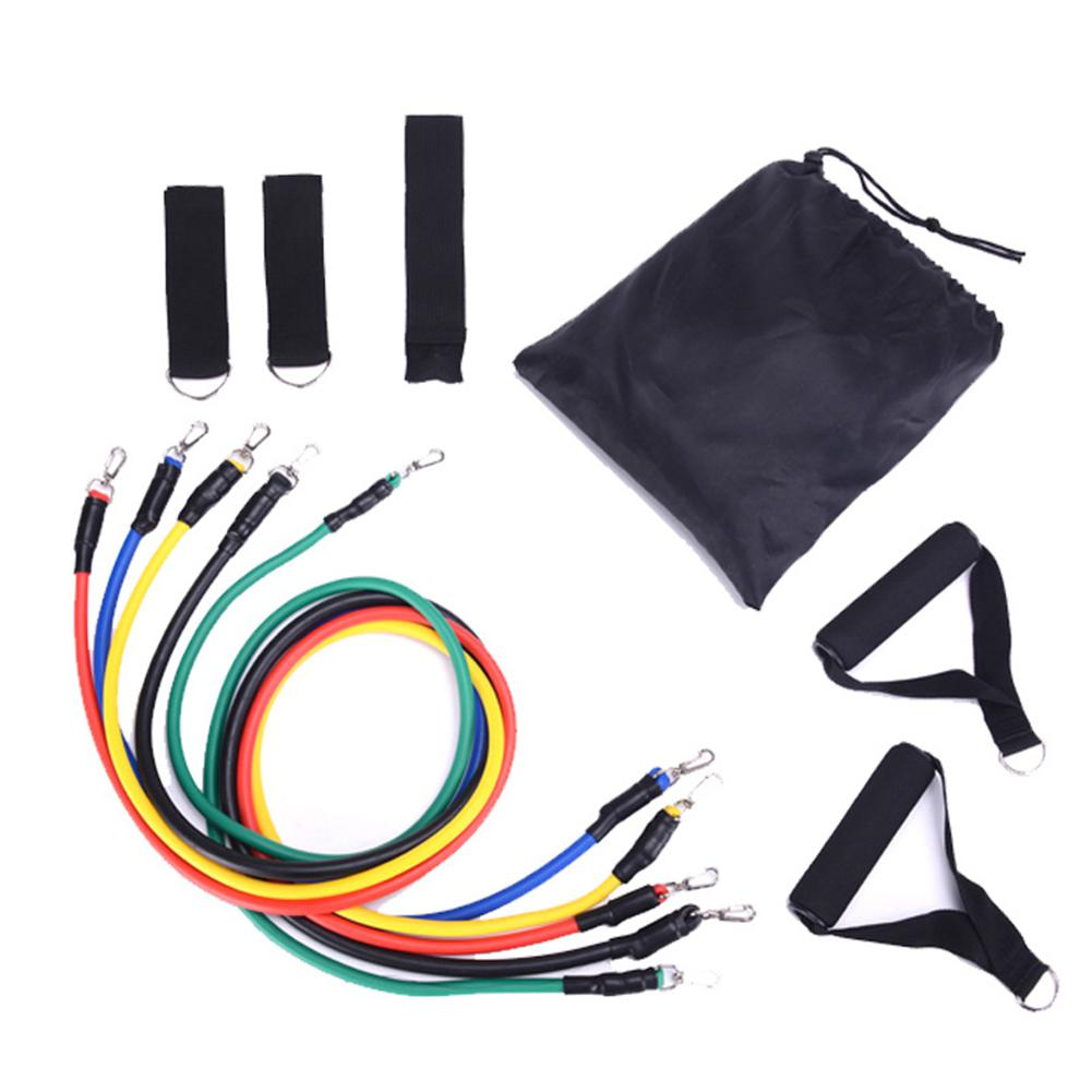 HiMISS Pull Rope Resistance Band Pull Rope TPE 11 Pieces Set For Fitness And Training Fitness Shaping Foot Cover Net Bag