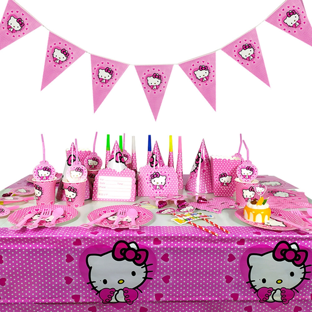 Disposable Tableware Set For Kitty Birthday Party Decorations, Balloons And Plates, Children's Napkins, Kitty Party Supplies