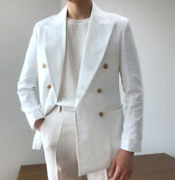 White Linen Suit Summer Beach Men's Double-breasted Groom Leisure Wedding Blazer