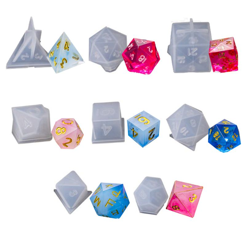 8 Shapes DIY Crystal Epoxy Mold Triangle Dice Fillet Shape Multi-spec Digital Game High Mirror Dice Mold Silicone Mould Making