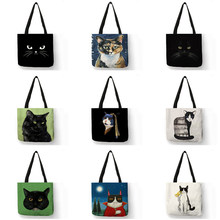 Gato preto impressão animal arte pintura compras saco de mão feminina bolsa de ombro eco grande gráfico tote shopper saco para boutique