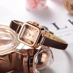 Image 4 - Dziewczyna unikalne kwadratowe małe zegarki damskie zegarki damskie cienki skórzany pasek zegarki kwarcowe różowe złoto kobiece moda zegarek Montre Femme
