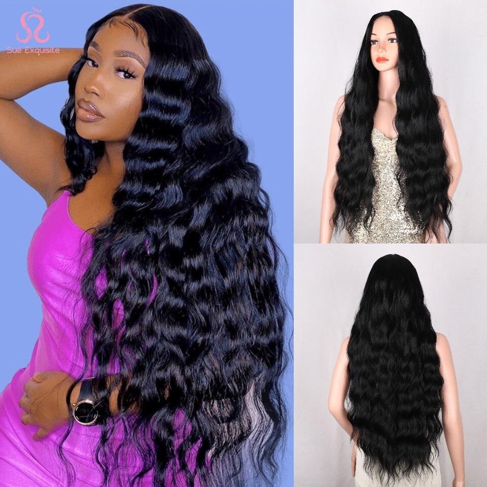 SUe изысканные синтетические парики для чернокожих женщин супер длинные вьющиеся волосы водяные волнистые парики термостойкие в средней части|Синтетические парики без сеточки|   | АлиЭкспресс