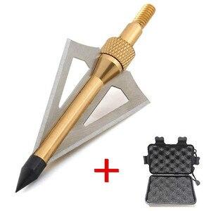 Image 4 - 12 pçs lâmina de tiro com arco flecha com 1pc broadhead caixa 3 fix lâmina 100gr pontas ponto alvo caça tiro seta acessórios