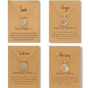 Hot Sale 12 Constellation Pendant Necklace Women Charm Jewelry Gold Chain Zodiac Sign Choker Necklace Men Women Birthday Gift