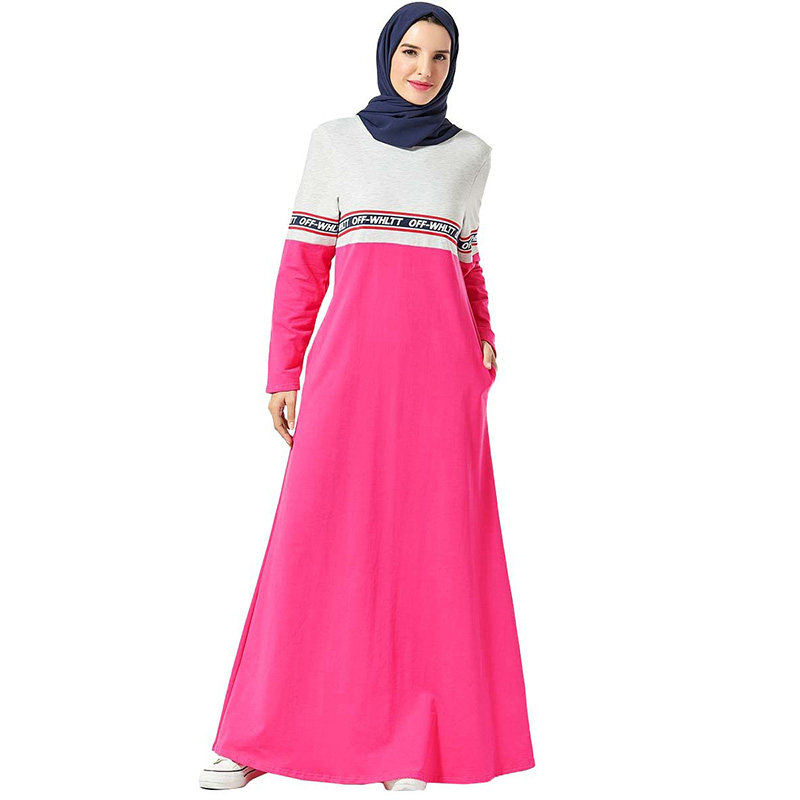 Middle East Arab Women's Dress Lettering Printed Dress Muslim Dubai Mosque Prayer Stitching Multicolor Pocket Long Sleeve Dress