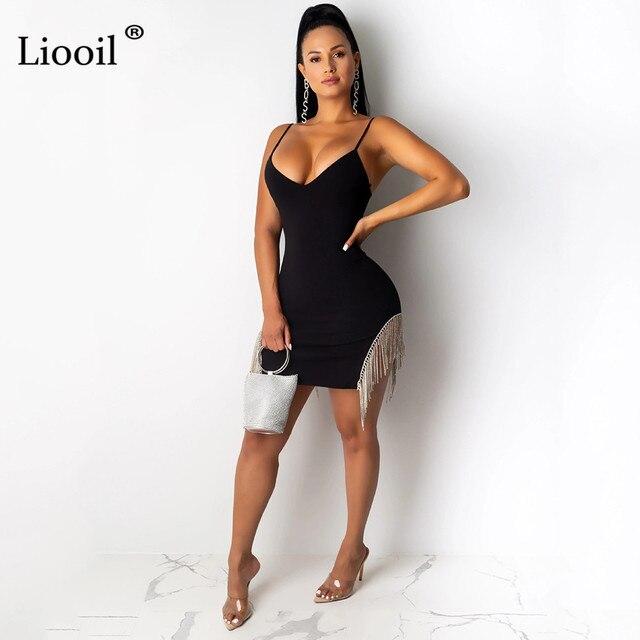 Liooil Tassel Bodycon Mini Dress Women Autumn Sleeveless V Neck High Waist Black White Sexy Dresses Party Night Club Dress 2019 1