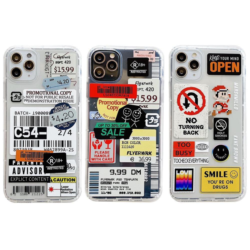 Fashion Retro Label Phone Cases For iPhone 11 12 Mini Pro XS Max X XR 7 8 Plus SE 2020 12Pro 11Pro Luxur Soft TPU Airbag Cover 5