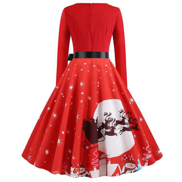 Plus Size S~5XL Print Long Sleeve Christmas dress Women Autumn Winter elegant casual vintage pin up party dresses Robe vestidos 3