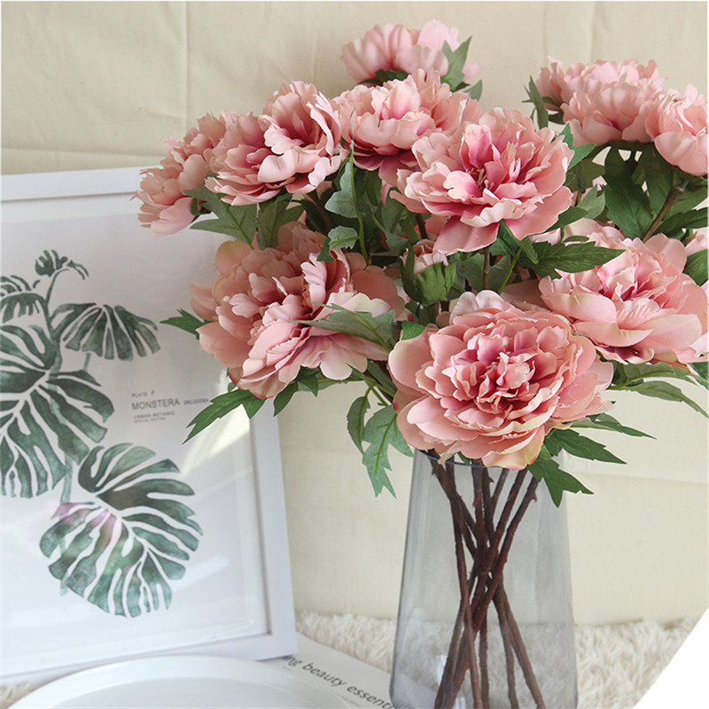 1 PC Peony Flower Artificial Flowers Bouquet Fake Real Touch For Wedding Decoration Gifts