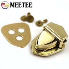 Meetee 1/2pcs 34x25mm Brass Tongue Lock Clasp Turn Twist Switch Buckle for Bag Luggage Hardware DIY LeatherCraft Accessory AP651