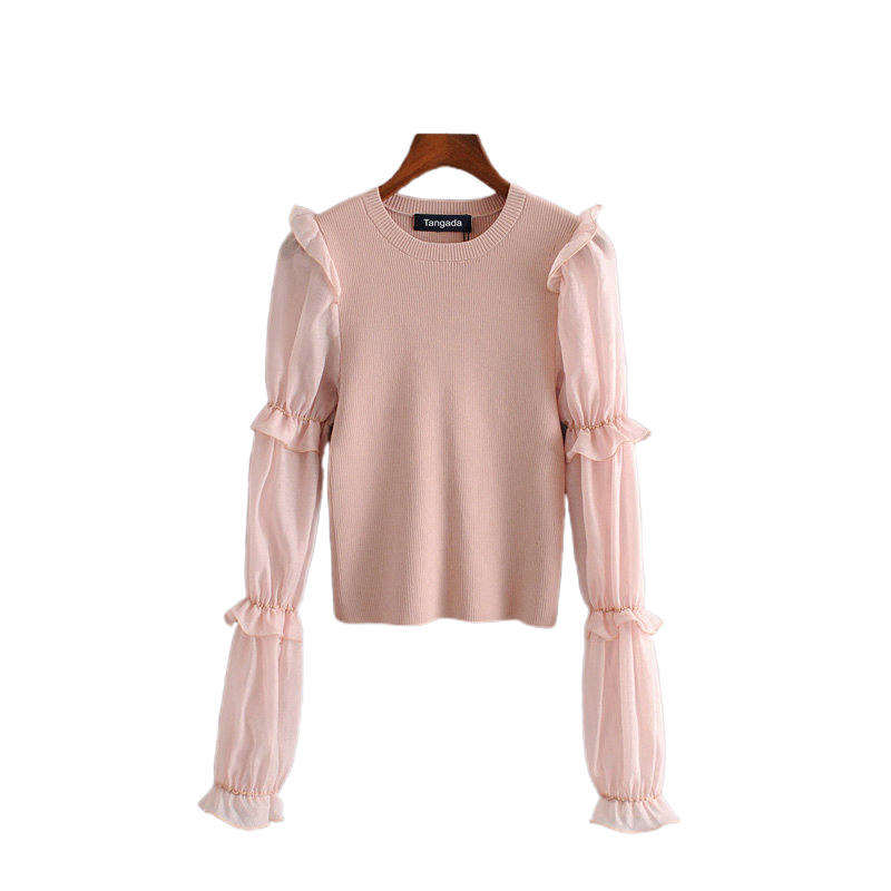 Tangada Korea Chic Women Pink Thin Sweater Mesh Patchwork Long Sleeve Vintage Ladies Knitted Jumper Tops 3H100
