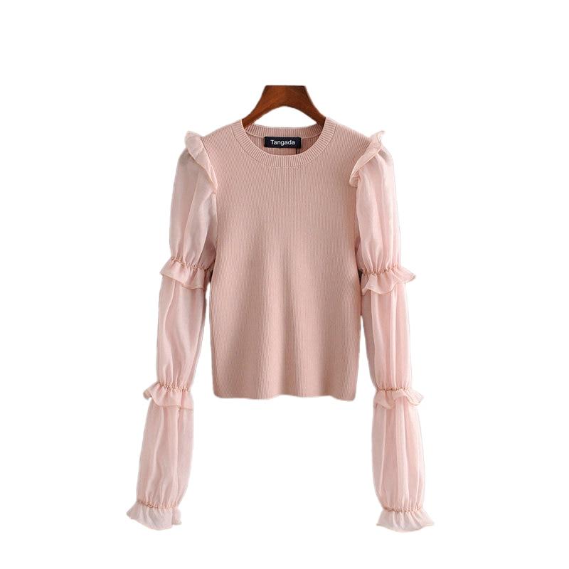 Tangada Korea Chic Women Pink Thin Sweater Mesh Patchwork Long Sleeve Vintage Ladies Knitted Jumper Tops 3H100