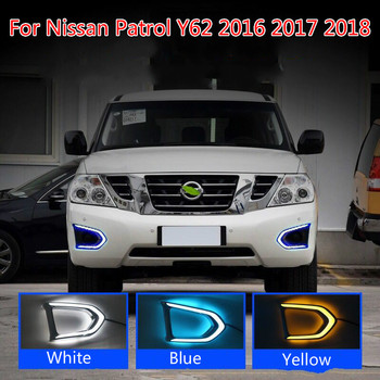 цена на 1Pair Car LED DRL For Nissan Patrol Y62 2016 2017 2018 Daytime Running Light With Yellow Turn Signal Night Blue Fog Lamp