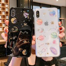 Starry Sky  For iPhone X XS XR Max 6 6S 7 8 Plus Soft TPU Clear Phone Case Transparent Bling beautiful Back Cover