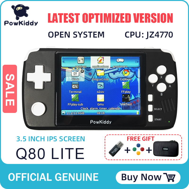 "Powkiddy q80 Retro video Game Console Handset 3.5 ""IPS Screen Built-in 4000 Games Open System PS1 Simulator 48G Memory NEW games"