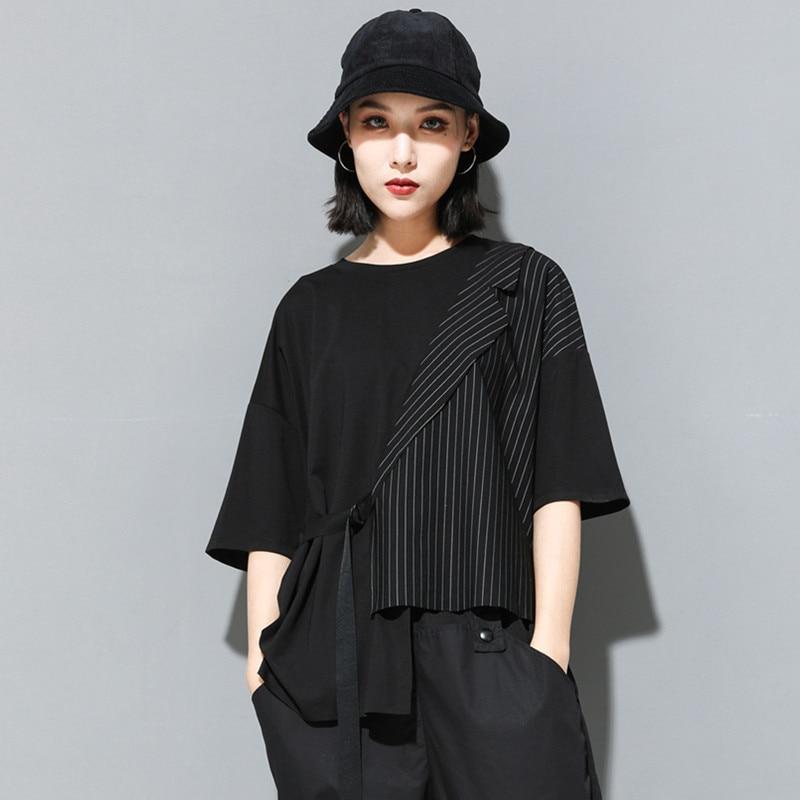[EAM] Women Black Striped Asymmetrical Big Size T-shirt New Round Neck Half Sleeve  Fashion Tide  Spring Summer 2020 JT230 7
