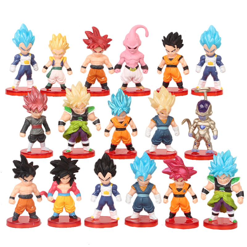 16pcs/lot Dragon Ball Super Saiyan God Action Figure Son Goku Gohan Vegeta Vegetto Frieza Zamasu Ultra Instinct Model Toys Gift