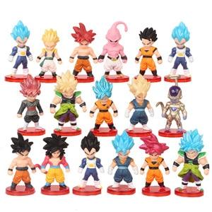 16pcs/lot Dragon Ball Super Saiyan God Action Figure Son Goku Gohan Vegeta Vegetto Frieza Zamasu Ultra Instinct Model Toys Gift(China)