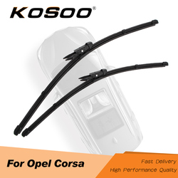 KOSOO For OPEL Corsa C/Corsa D/Corsa E ,Fit J Hook/Pinch Tab Arms Model Year From 2000 To 2018 Auto Natural Rubber Wiper Blades