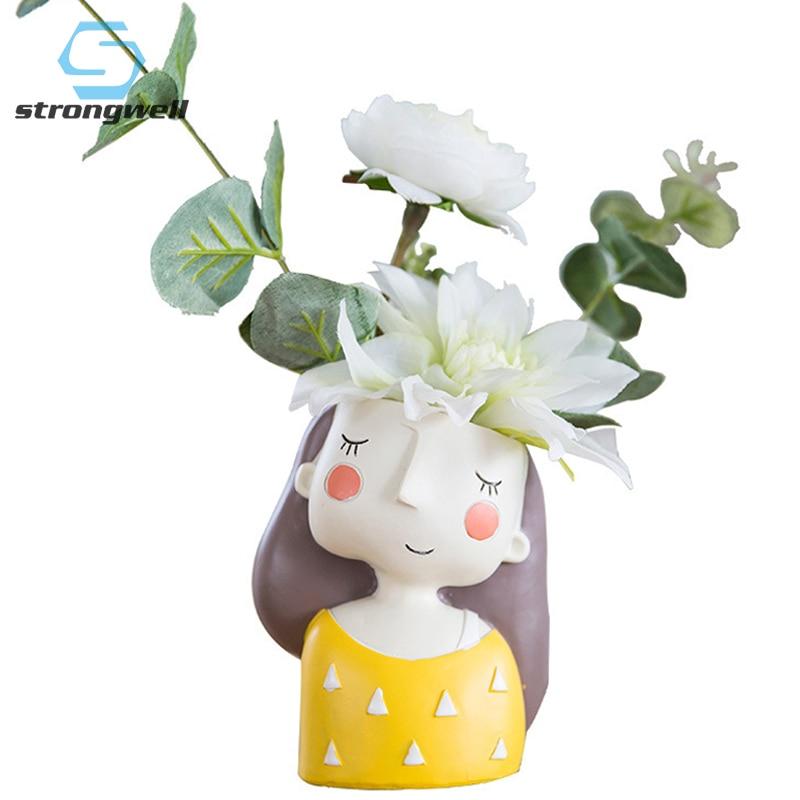 Strongwell Nordic Cute Girl Resina Flor Pote Vaso de Planta de Jardim Loja Home Office Decoração De Mesa de Café Dos Desenhos Animados