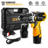DEKO New 12V16V 20V Electric Drill with Lithium Battery Pack Cordless Drill for Home DIY Mini Power Driver Keyless 18+1 Settings