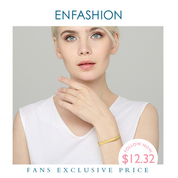 ENFASHION Personalized Engraved Name Flat Bar Screw Cuff Bracelets Gold Color Stainless Steel Bangles For Women Jewelry B4003-S