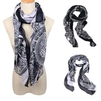 Warm Vintage Long Soft Cotton voile Print Scarves Shawl Wrap Cozy Scarf Stole For Woman 165 cm*85 cm casual poppy print voile scarf