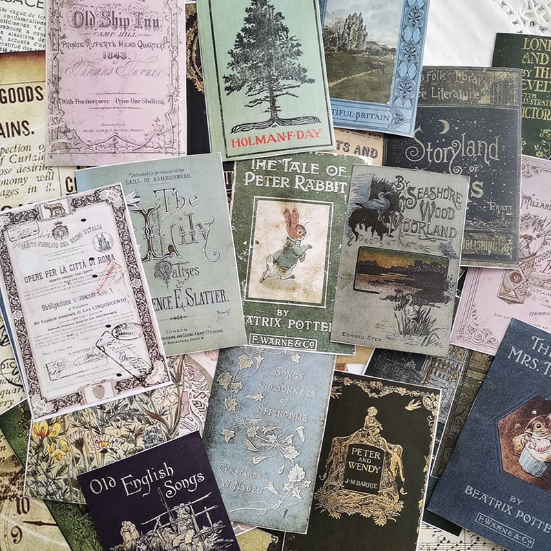 24pcs/Bag Vintage Book Pattern Paper Pack For Scrapbooking Happy Planner Card Making Junk Journal Project