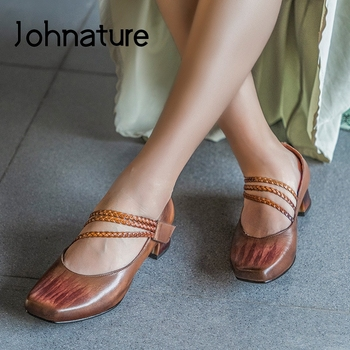 Johnature Pumps Women Shoes 2020 New Spring Hook & Loop Retro Genuine Leather Square Toe Casual Sewing Concise Ladies Shoes