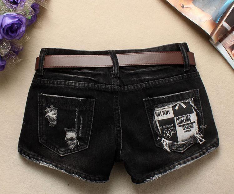 Women Sexy Mini Shorts Rivet Holes Jeans Low Waist Shorts Without Belt Ripped Denim Short 41