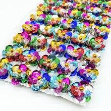 Parches para espalda plana de costura hecha a mano, artesanías de boda, zapatos, bolsas, accesorios de ropa, mate, Flores de lentejuelas, 18mm, 10 Uds.