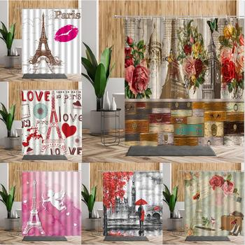 Retro Elegant Paris Tower Shower Curtains Beautiful Scenery Bathroom Decors 3D Romantic Printed Bath Curtains With Hooks 240x180 image