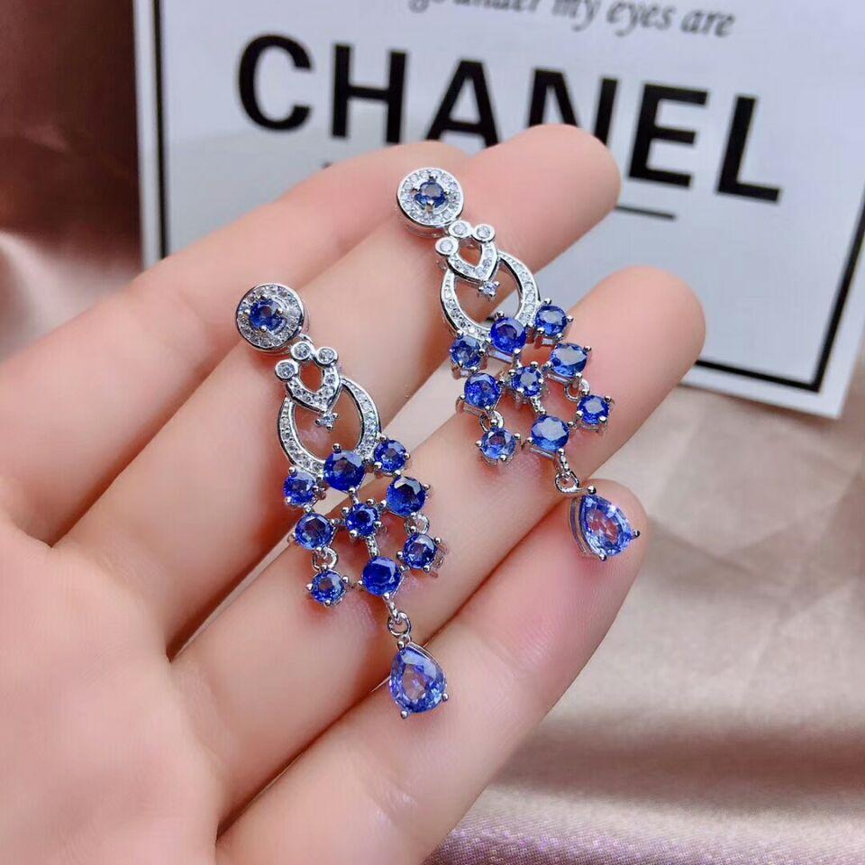 Image 4 - MeiBaPJ Luxury Sri Lanka Sapphire Gemstone Drop Earrings Real 925 Silver Fashion Earrings Fine Charm Wedding Jewelry for WomenEarrings   -