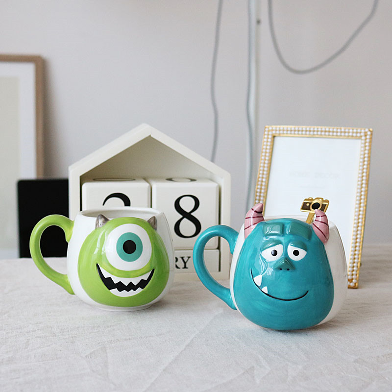 300ml Disney Monster Mike Sullivan Cartoon Water Cup Coffee Milk Tea Ceramic Mug Home Office Collection Cup Festival Gifts