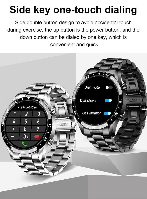 LIGE 2021 Full circle touch screen steel Band luxury Bluetooth call Men smart watch Waterproof Sport Activity fitness watch+box