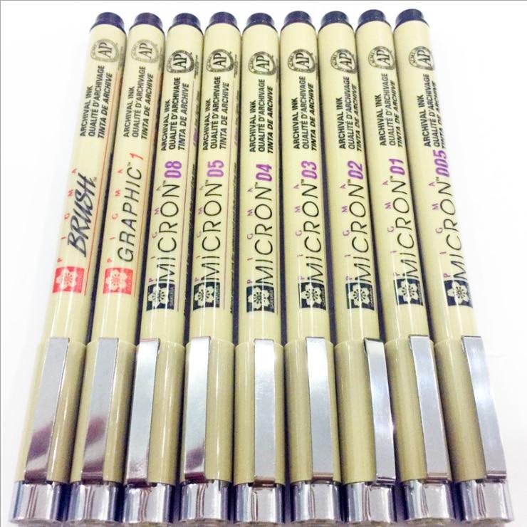 7pcs/set Sakura Pigma Micron Pen drawing Needle Pen 05 01 Lot Art 005 04 02 03 Markers 08